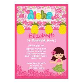 CUTE Hula Girl PInk Birthday Invitations