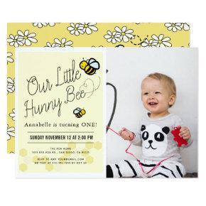 Cute Hunny Bee Yellow Photo 1st Birthday Party Invitation