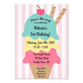 Cute Ice Cream Birthday Invitation