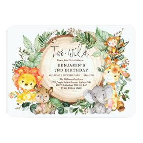 Cute Jungle Greenery Wild Animals 2nd Birthday Invitation