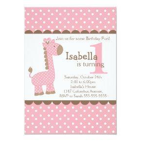 Cute Jungle Safari Pink Giraffe Birthday Party Invitation