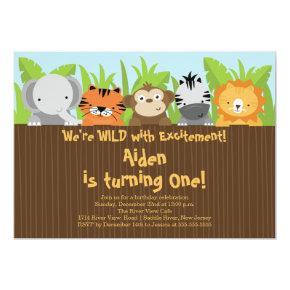 Cute Jungle Safari Zoo Animals Kids Birthday Invitations