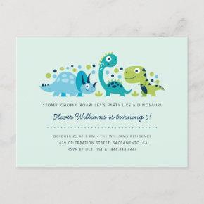 Cute Jurassic Dinosaurs Kids' Birthday Party Invitation Post