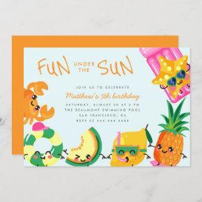 Cute Kawaii Summer Fun Under The Sun Kids Birthday Invitation