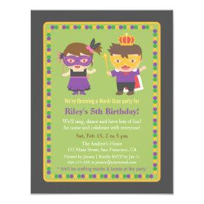 Cute Kids Mardi Gras Birthday Party Invitations