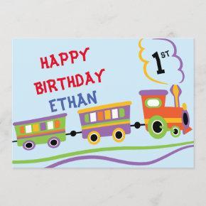 Cute Kids Train Birthday Party Boy Birthday Invitation