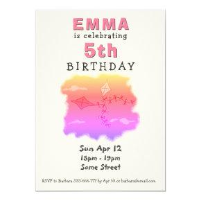 Cute Kites Pink Girl Birthday Party Invitation