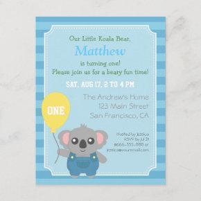 Cute Koala Bear Boy Birthday Party Invitation