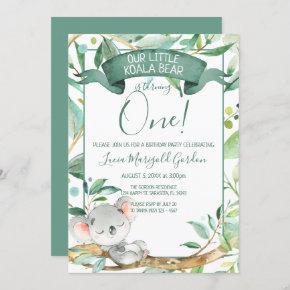 Cute Koala Green Gray First Birthday Party Invitation