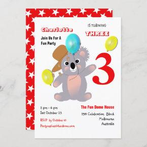 Cute Koala Teddy Bear Birthday Party Invite