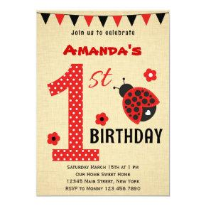 Cute Ladybug First Birthday Invitations