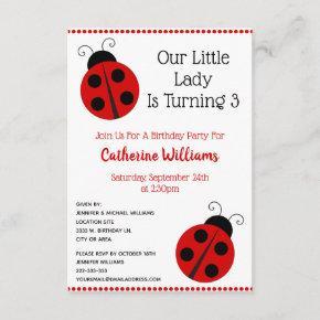 Cute Ladybug Polka Dot Llittle Girl Birthday Party Invitation