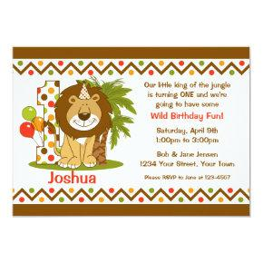 Cute Lion 1st Birthday Invitation