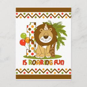 Cute Lion 1st Birthday Post Invitation