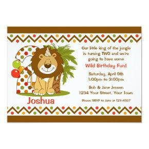 Cute Lion 2nd Birthday Invitation