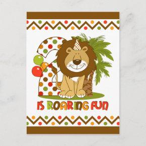 Cute Lion 2nd Birthday Post Invitation