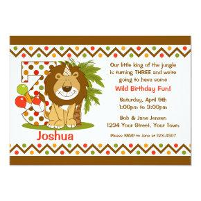 Cute Lion 3rd Birthday Invitation
