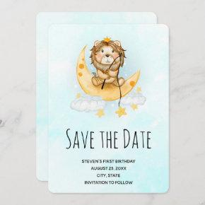 Cute Lion Fishing from the Moon Watercolor Save The Date