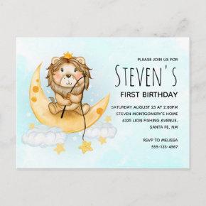 Cute Lion Fishing on the Moon Watercolor Birthday Invitation Post