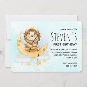 Cute Lion Fishing Watercolor Birthday Invitation