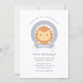 Cute Lion King of the Jungle Baby's First Birthday Invitation