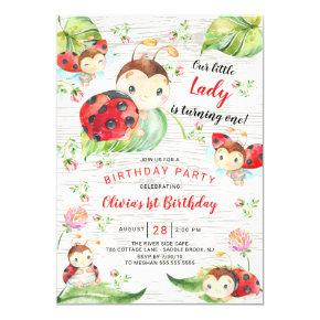 Cute Little Lady Ladybug 1st Birthday Invitation