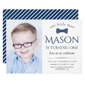 Cute Little Man Bow Tie First Birthday Party Invitations