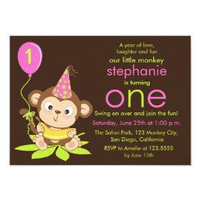 Cute Little Monkey First Birthday Invitation
