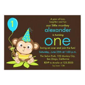 Cute Little Monkey First Birthday Invitations