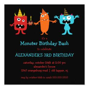CUTE Little Monster Bash Birthday Party Invitations