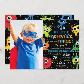Cute Little Monster Boy 1st Birthday Vibrant Photo Invitation