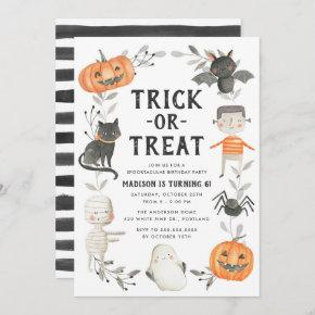 Cute Little Monsters Halloween Birthday Party Invitation