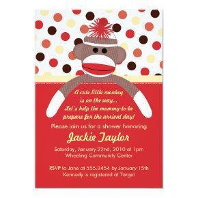 Cute Little Sock Monkey Baby Shower Invitation