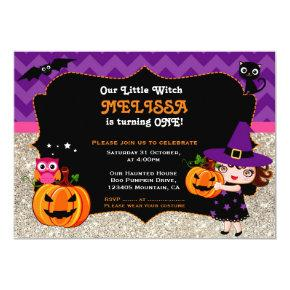 Cute Little Witch First Birthday invitation
