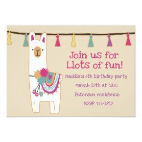 Cute llama & tassels design Invitations