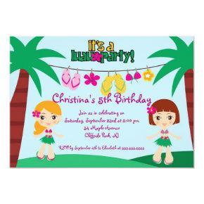 Cute Luau Party Birthday Party Invitations