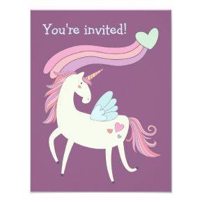 Cute Magical Unicorn Birthday Party Invitation