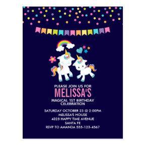 Cute Magical Unicorns Rainbow Birthday Party Post