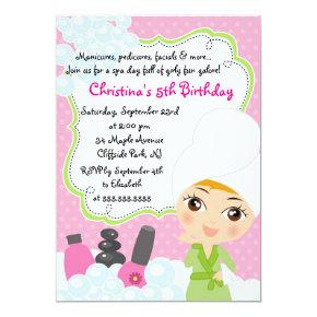 Cute Manicure Spa Birthday Party Invitations