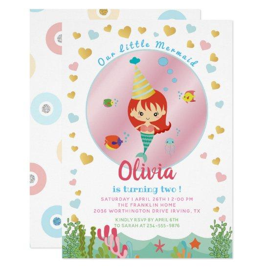 cute mermaid under the sea birthday pool party card candied clouds