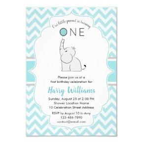 Cute Modern Blue White Elephant 1st Birthday Party Invitation