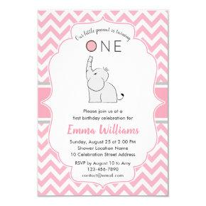 Cute Modern Girl Pink Gray Elephant 1st Birthday Invitation