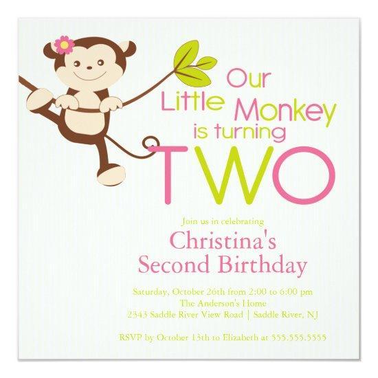 Cute Modern Monkey 2nd Birthday Party