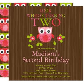 Cute Modern Owl 2nd Birthday Party