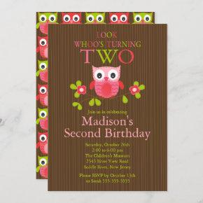 Cute Modern Owl 2nd Birthday Party