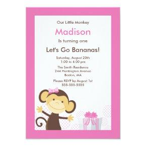 Cute monkey birthday invitations candied clouds cute monkey girl birthday invitation filmwisefo