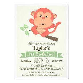 Cute Monkey, Jungle Animal Kid's Birthday Party Invitations
