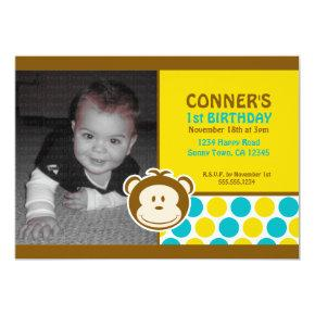 Cute Monkey Photo Invitation or Thank You