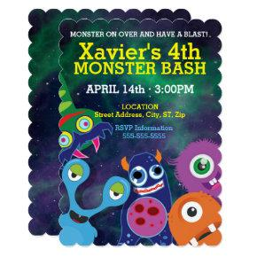 Cute Monster Bash Birthday Invitations