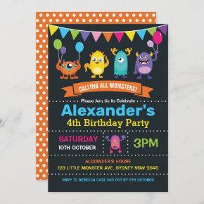 Cute Monster Birthday Party Chalkboard Invitation